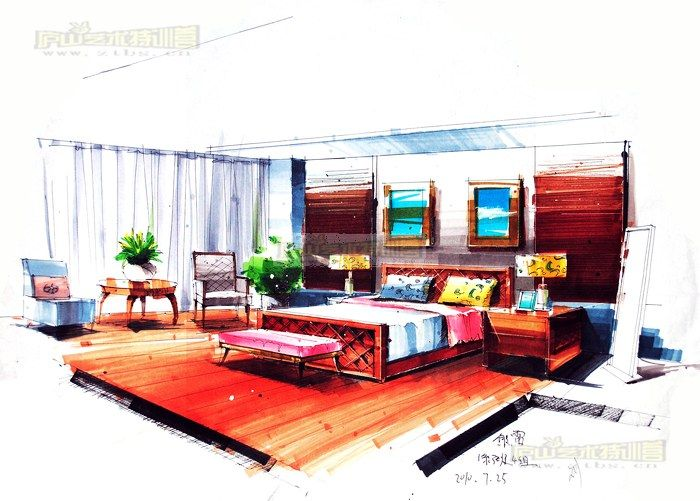 室内设计效果手绘图马克笔分享展示