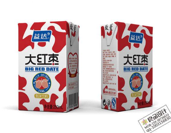 益达大红枣利乐砖牛奶饮料包装盒设计此产品为上市产品
