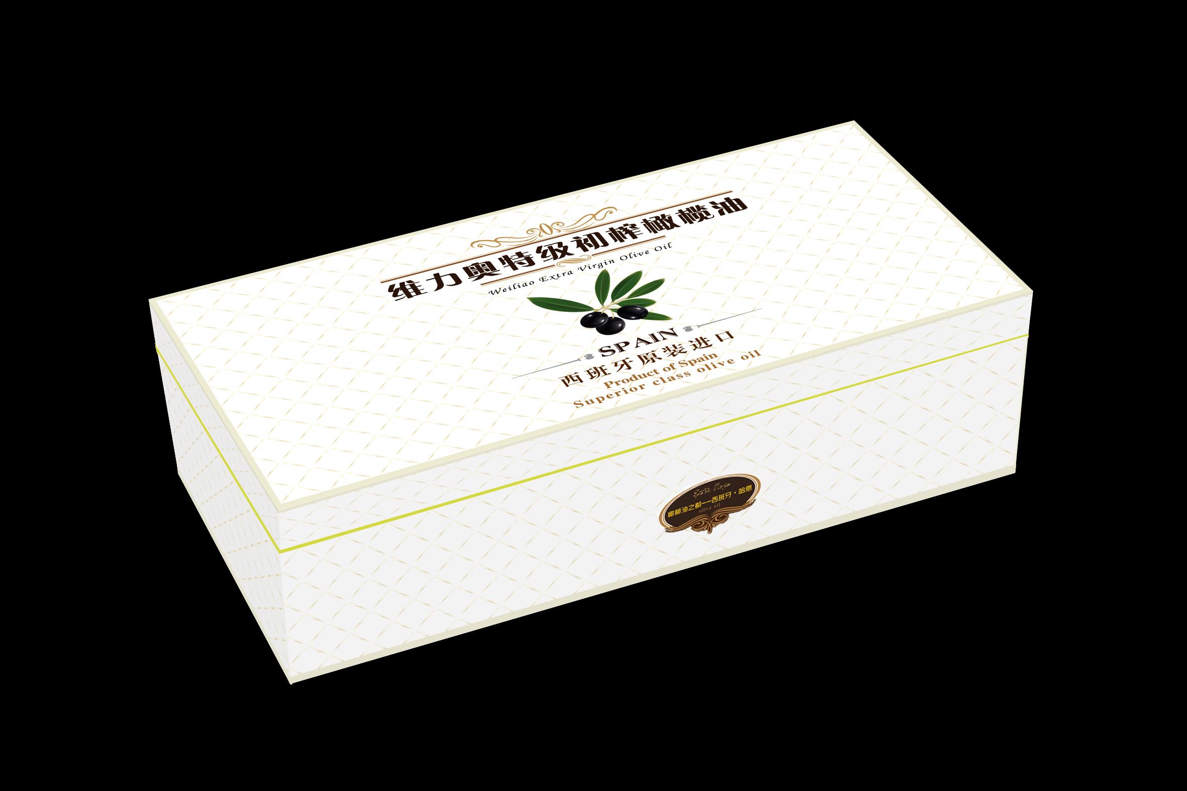 刚定稿的橄榄油食品包装盒设计,里面有几个效果图的透视做