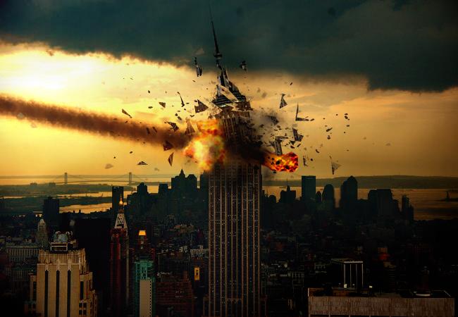 ps合成流星撞击摩天楼的爆炸效果