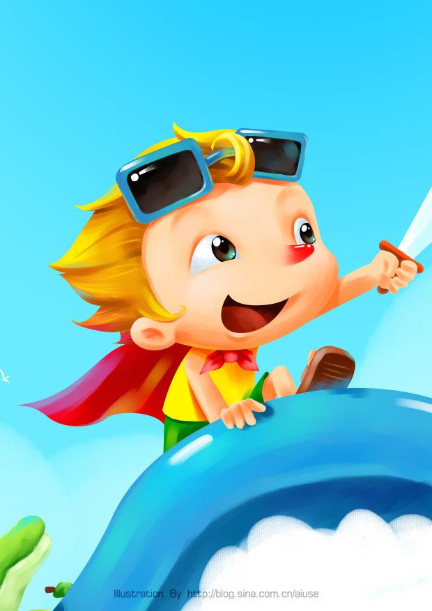 夏日海边-童年的小海盗:绘画步骤