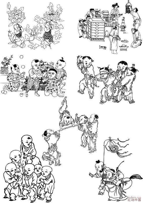 中国古代儿童插画[ai]_矢量素材_素材下载_资讯娱乐