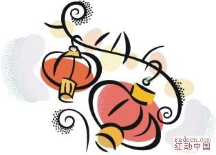 国传统新年彩色简笔画 舞狮,看灯 全部1个包 春节元宵 节日素材