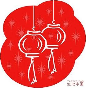 国传统新年彩色简笔画 舞狮,看灯 全部1个包 春节元宵 节日素材 全