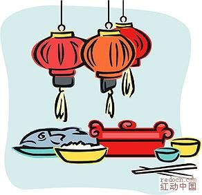 中国传统新年彩色简笔画(舞狮,看灯~~~~~~~全部1个包)