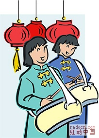 中国传统新年彩色简笔画(舞狮