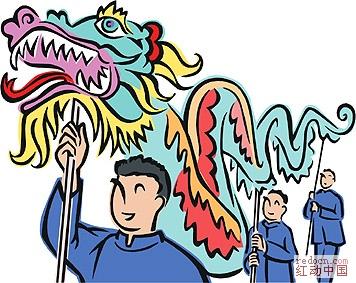 中国传统新年彩色简笔画