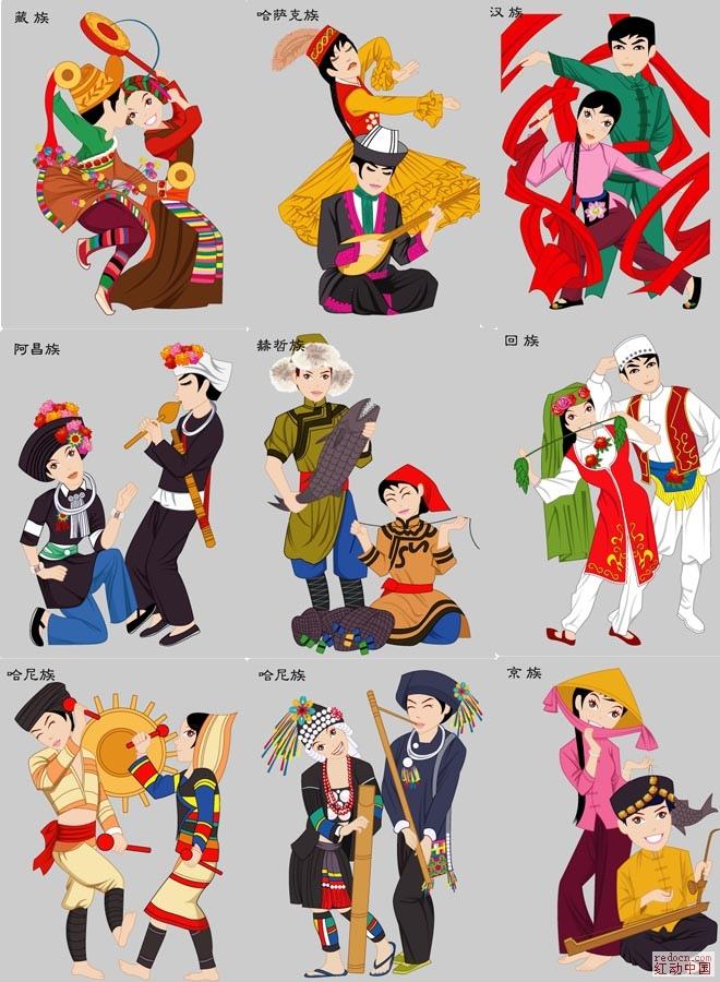 中国五十六个民族 重新整理 卡通绘画 卡通 VIP下载专区
