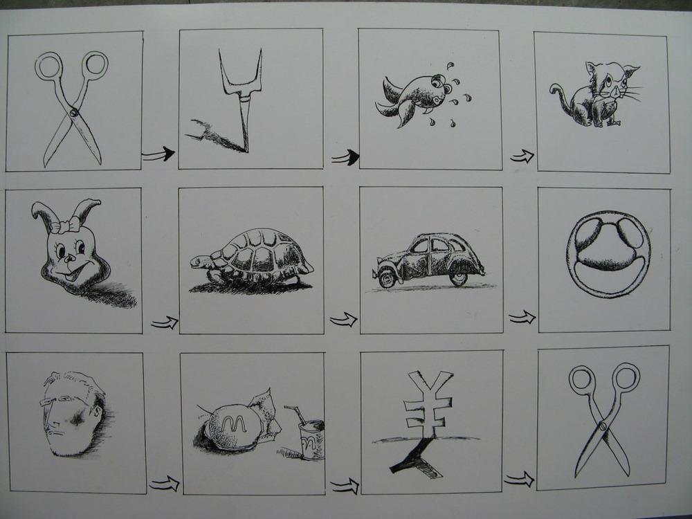 手绘的 图形创意 大家看一下 鉴于斑竹的建议 我大体做下说明 第一幅画主要是横向思维 从第1 个图形再想回来 在概念 形状 等等有联系的 都可以想下去的 第2 幅 老师不太喜欢 原因是会产生歧义 我的本来想法是 用鱼替换树叶 还有那个 小的树墩 来警示要保护水资源和树木的 第三幅 是做得最轻松的 突然的灵感 看到同学的雕派洗洁剂 正好呢 同构中有字画结合的 那么正好呢 就买了包大的洗衣粉 作业轻松完成 [