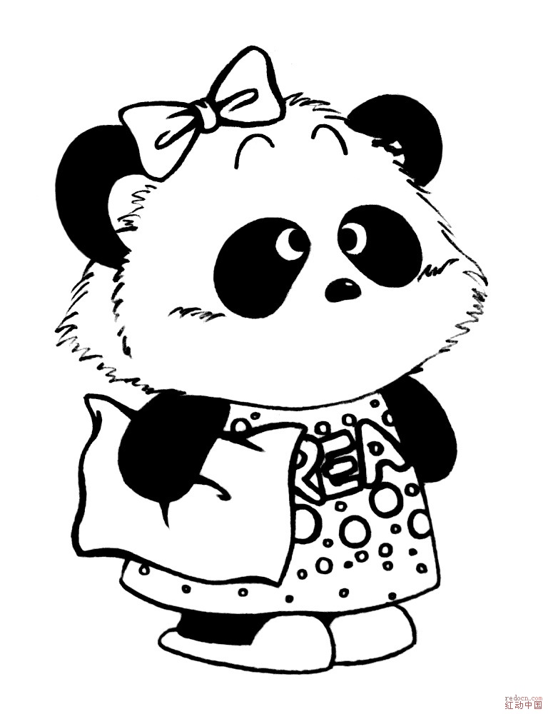 矢量线条熊猫 ai_矢量素材
