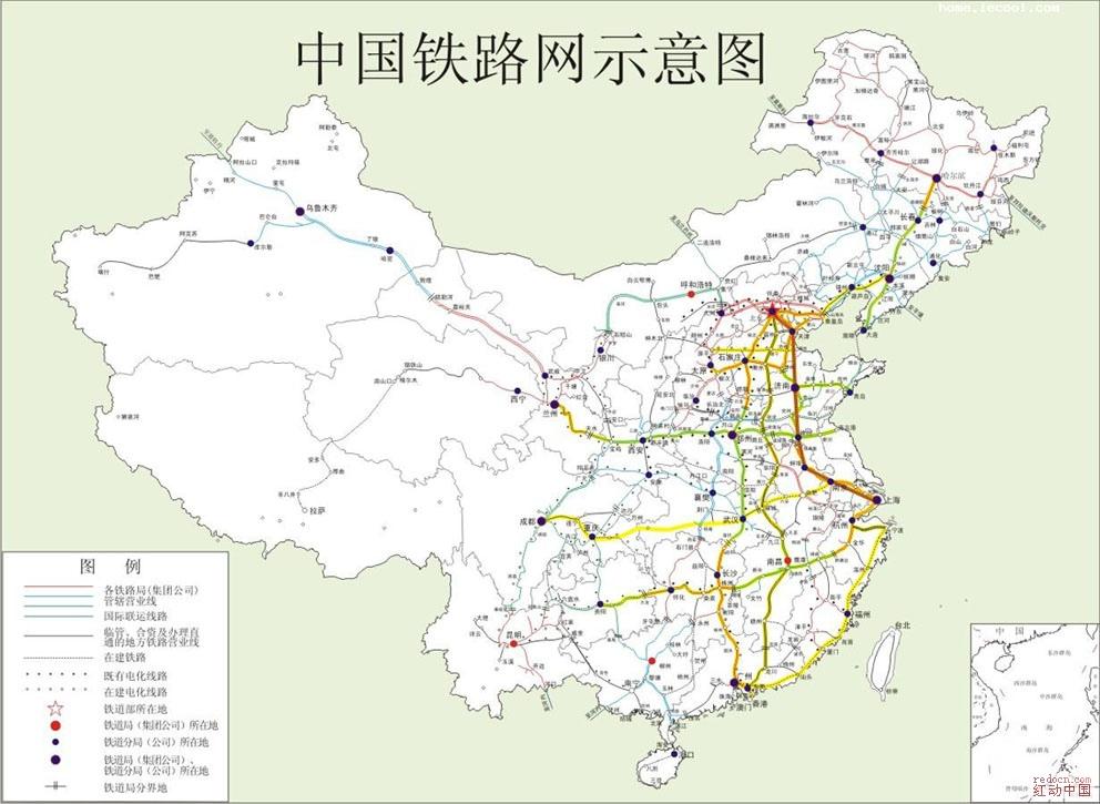 中国铁路分布图图片;; 中国铁路分布图 地图 国旗 常用素材; 中国海陆