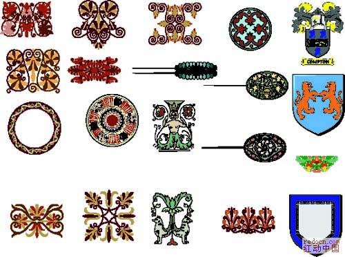 最具欧式风格的矢量图标-花纹图案-设计元素-矢量
