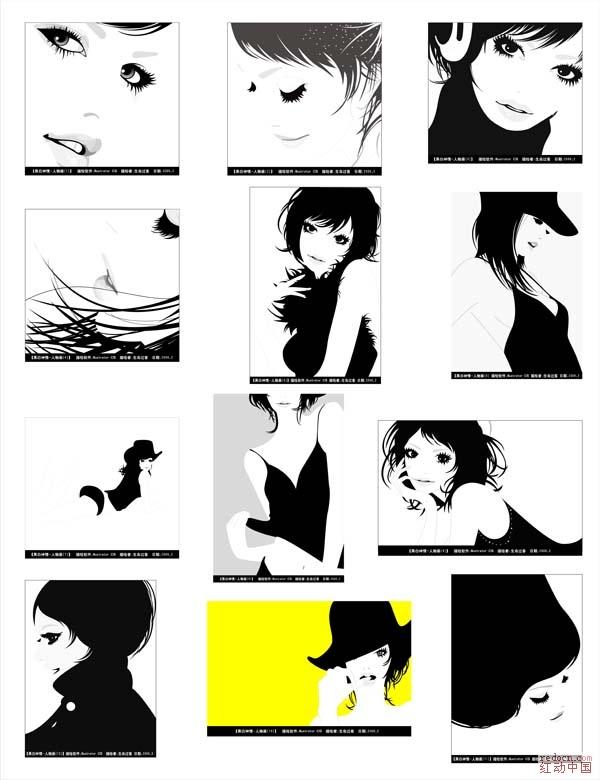 黑白神情人物画_矢量素材__ 专业设计网 - 红动中国