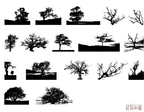 一套树木的剪影._矢量素材