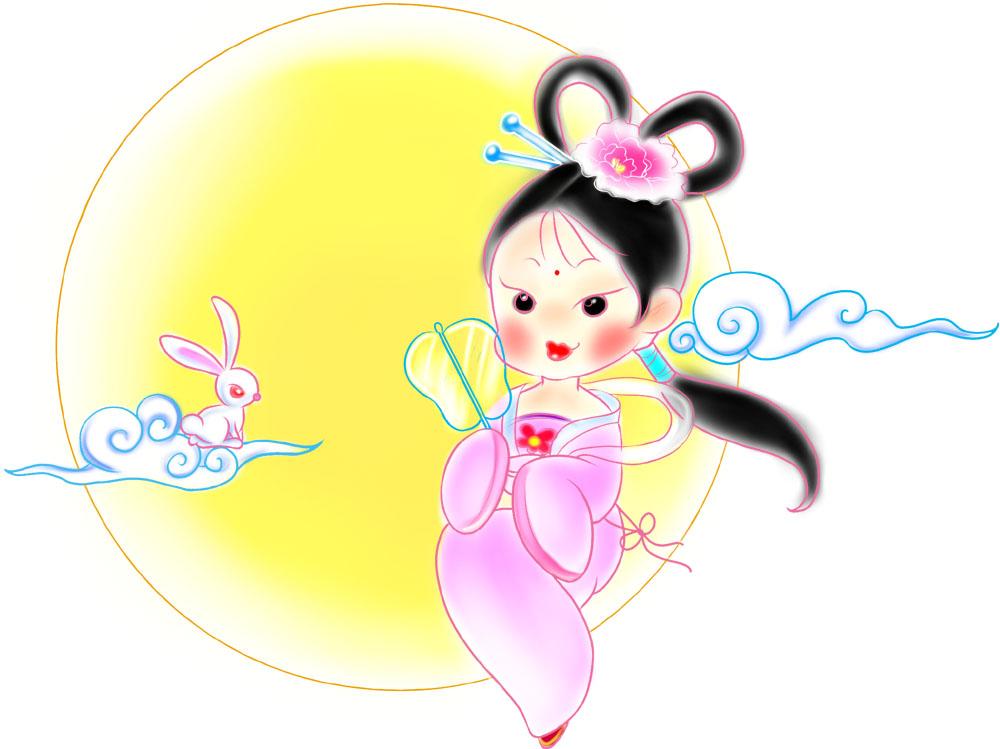 嫦娥月兔q版手绘图片