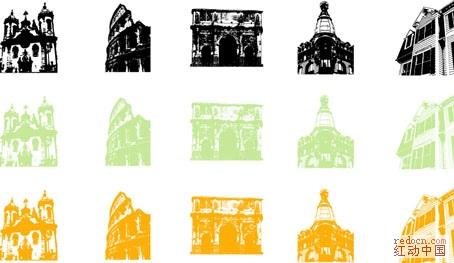 精美古罗马建筑及欧式雕塑矢量图ai10