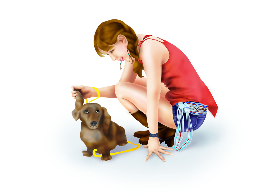 photoshop手绘美女和小狗