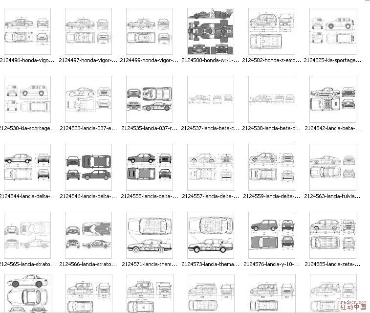 汽车三视图(较全)_3d素材(材质/模型/贴图/cad图库/)