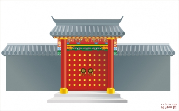 古代红色楼门_矢量素材_素材下载_资讯娱乐 第一设计