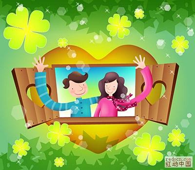 韩国温馨家庭矢量图 综合人物 卡通图片