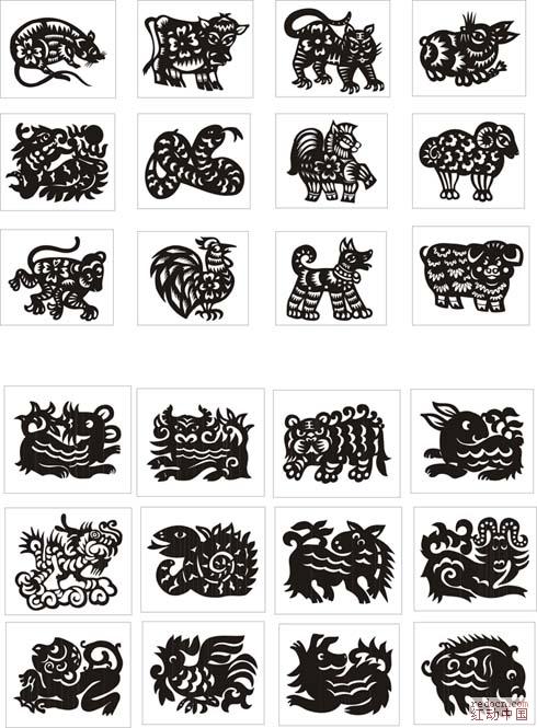 12生肖黑白剪纸矢量图