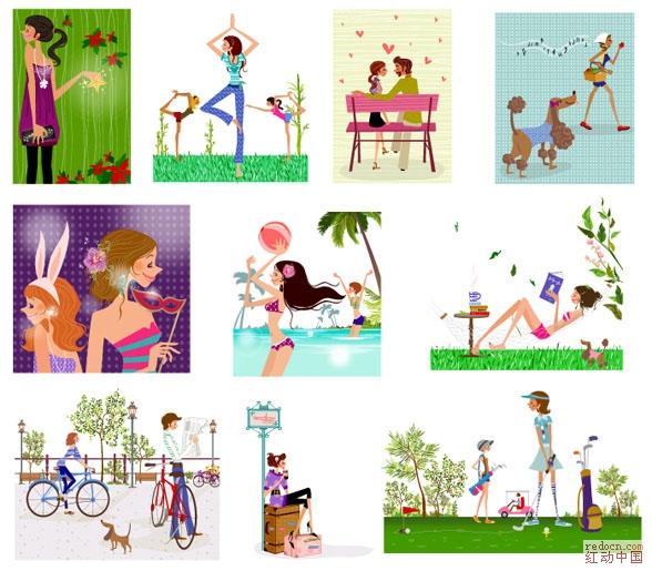 时尚人物简笔画49张集合-卡通绘画类-人物|卡通-矢量