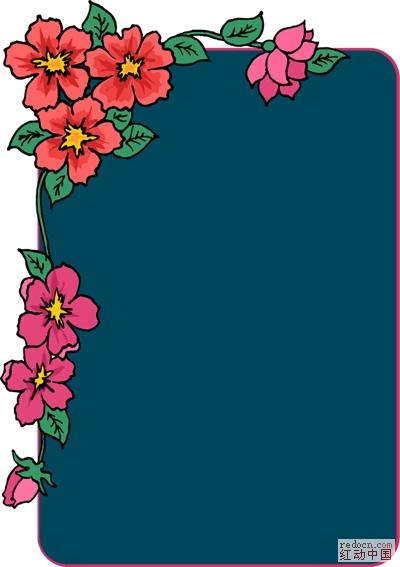 美式矢量插画: 花草边框_矢量素材_素材下载_资讯娱乐