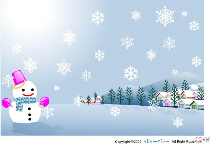 圣诞节的橱窗和冬季风景-圣诞节-节日素材-矢量素材