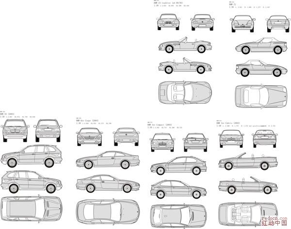 车贴vi必备素材之宝马41辆(含正视,俯视,顶视,侧视)全部矢量
