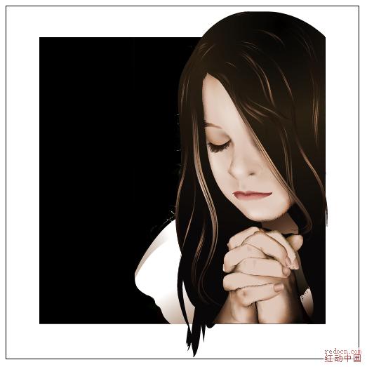 少女的祈祷 人物旧 矢量素材免费下载