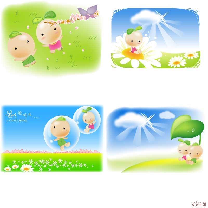 超可爱韩国豆豆娃娃【ai】_矢量素材_素材下载_资讯