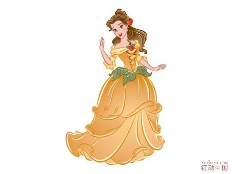 迪士尼公主系列加花纹-卡通绘画类-人物卡通-矢量