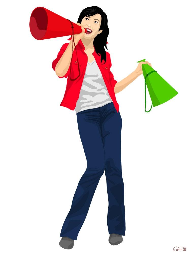 求手拿喇叭的矢量运动女孩素材求助