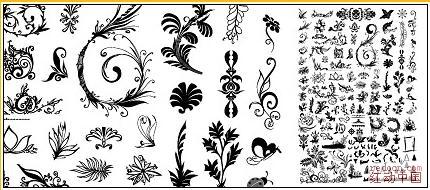 黄金心,蓝色花纹背景,欧式时尚细花纹,上百款花纹,昆虫,树木等矢量