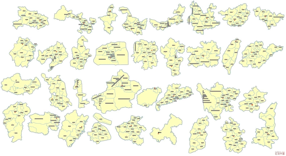 中国各省地图(细化到每个市区)[已更新]_矢量素材__ .