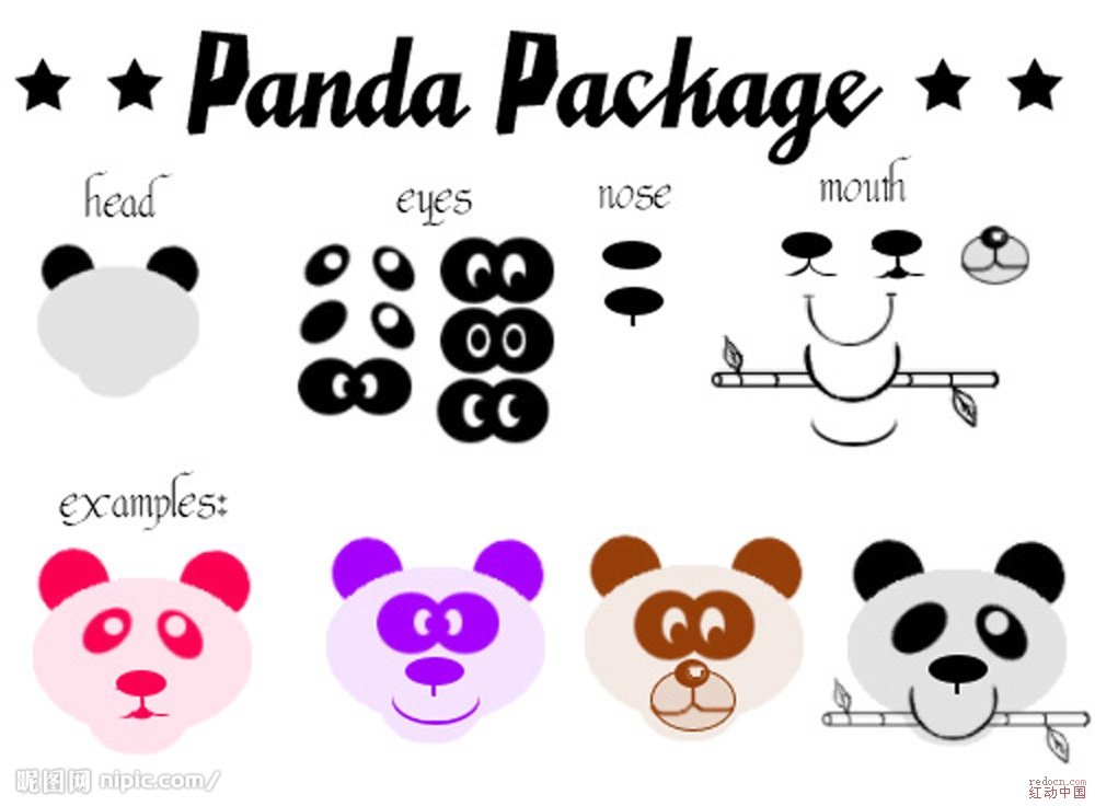 随意组合的熊猫脸图片_矢量素材_素材下载_资讯娱乐