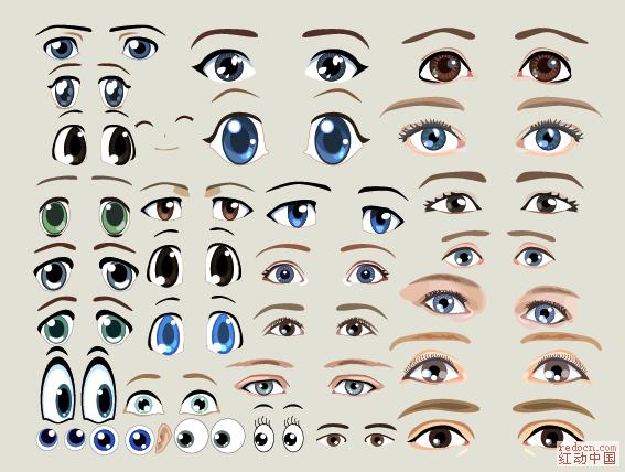 多款可爱卡通眼睛_矢量素材