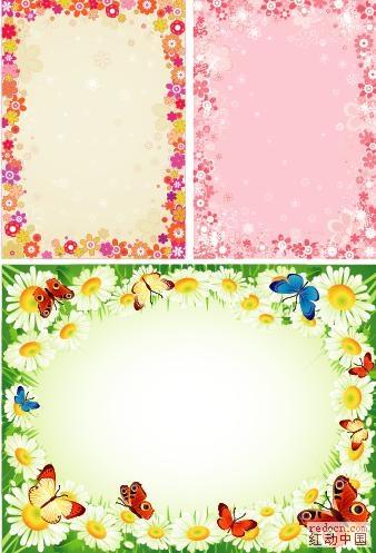 漂亮花朵组成的花边框图片