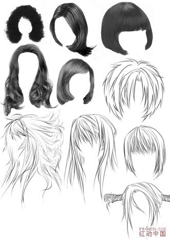 女士发型和卡通发型笔刷_矢量素材_素材下载_资讯娱乐