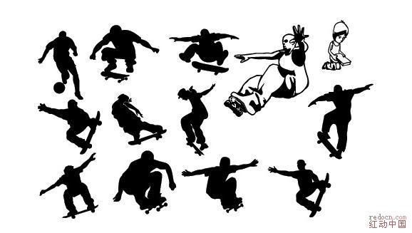 滑板运动人物剪影_矢量素材