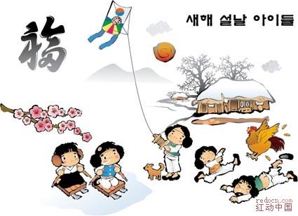 韩国小孩子嬉戏玩耍图