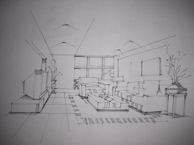 厨房透视图手绘画