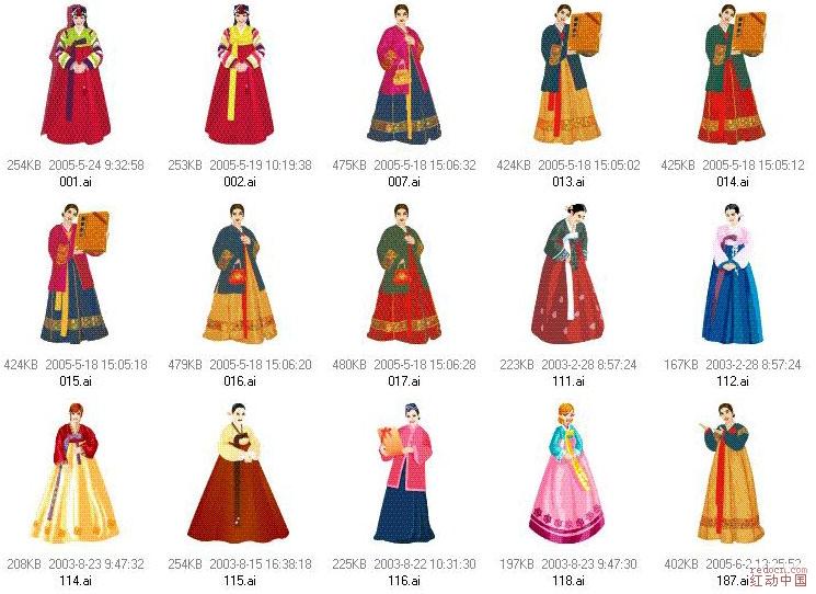中国传统服饰卡通图片 中国传统服饰卡通照片 中国