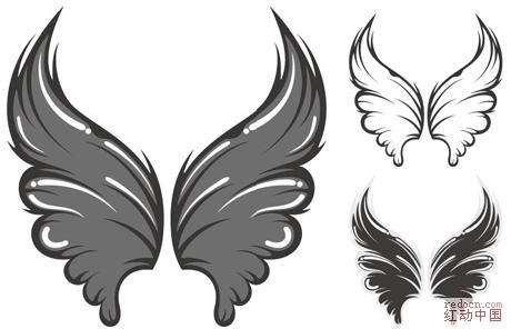 [可爱翅膀]矢量花纹图案素材-抽象剪影-设计元素