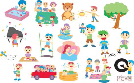 卡通人物矢量图--韩国温馨家庭系列--全套100张