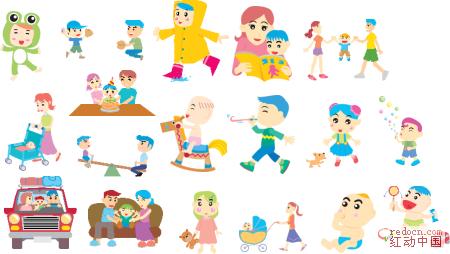 卡通人物矢量图 韩国温馨家庭系列 全套100张图片