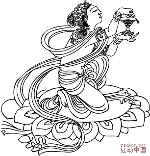 敦煌壁画线描稿 (元) 舞蹈,奏乐