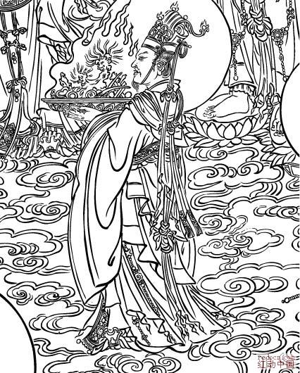 敦煌壁画线描稿之《文殊经变》(安西榆林第三窟)(cdr