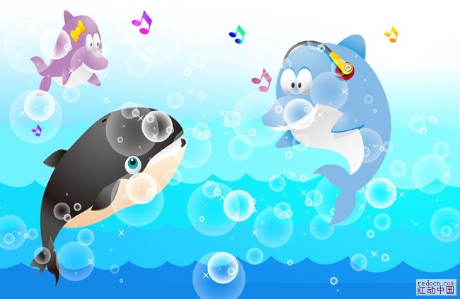 **海洋动物~~海底世界~~唱歌的海豚**