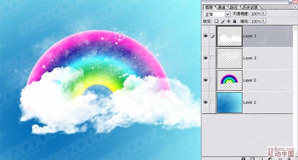 可爱彩虹云朵壁纸psd分层素材